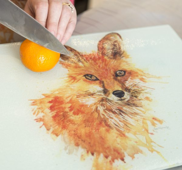 glass fox worktop saver with orange and knife