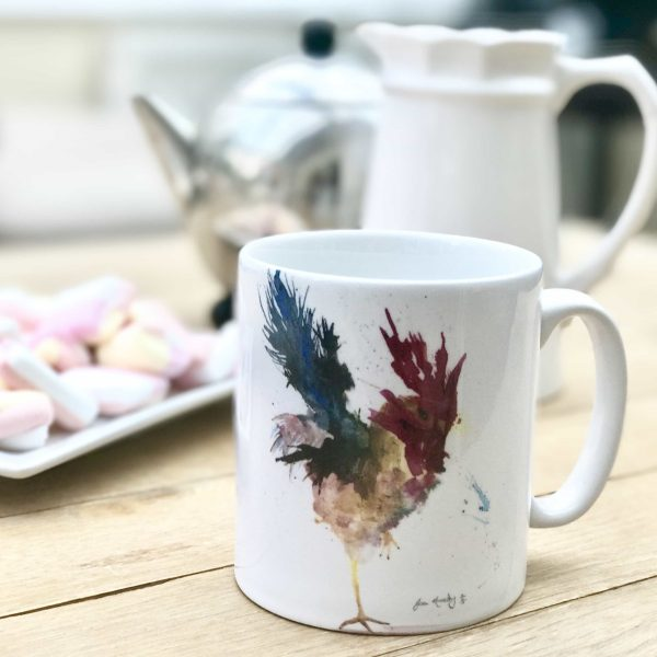 watercolour cockerel mug
