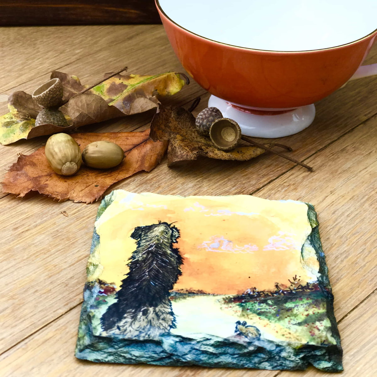 Vibrant slate coaster of dog and mouse gift by Joan kennedy