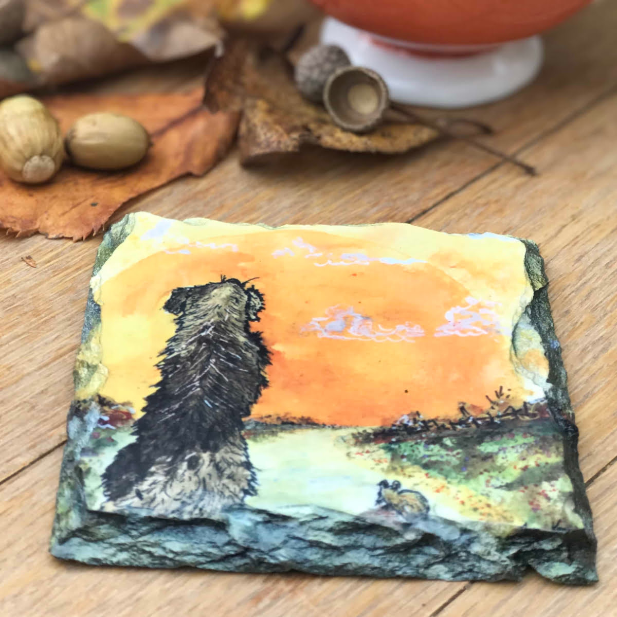 Beautiful yellow dog lover slate coaster gift by Joan Kennedy