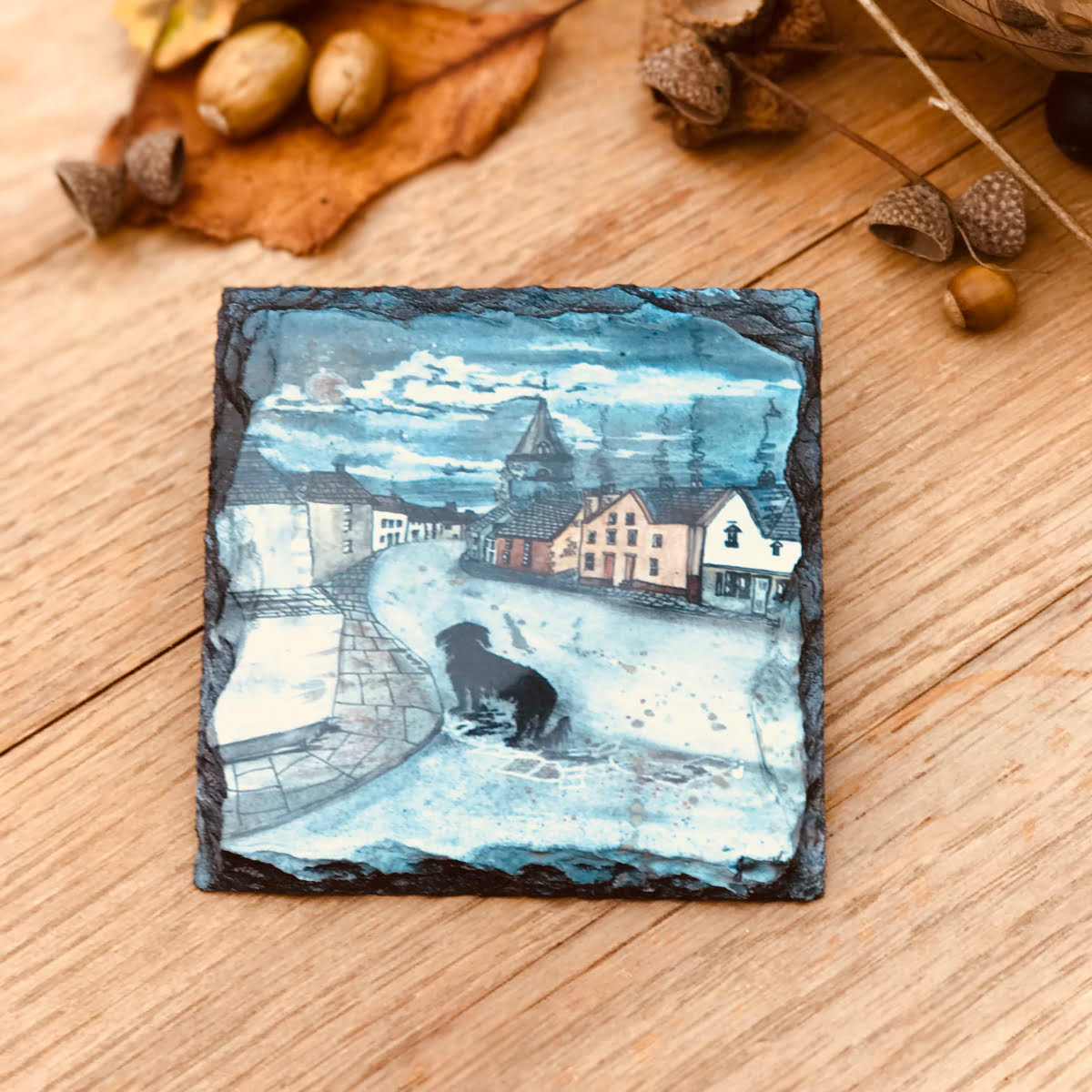 Unique slate coaster gift of dog in town by Joan Kennedy artist