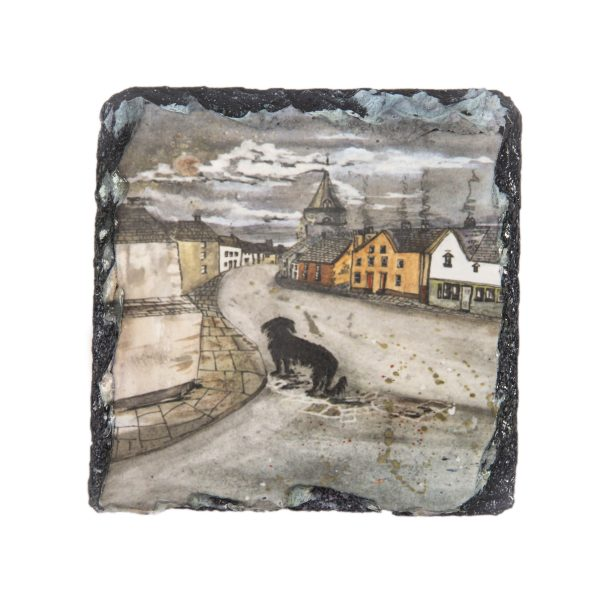 black dog image on slate coaster