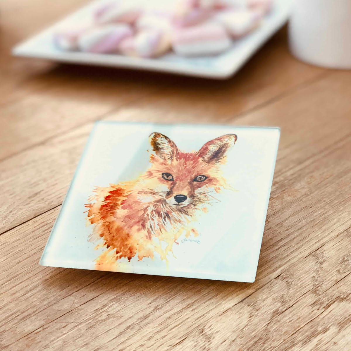 luxury glass fox coaster gift by Joan Kennedy