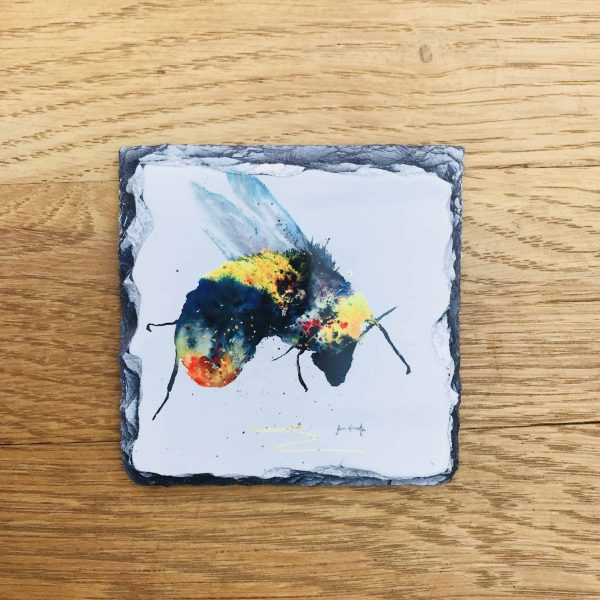slate coaster with vibrant bee watercolour print