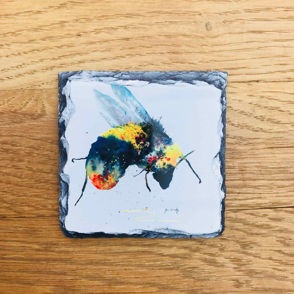 bee gift coaster slate by Joan Kennedy
