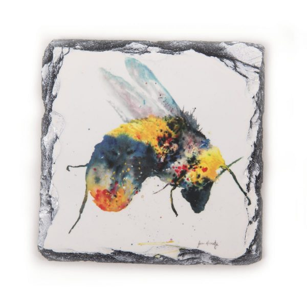 bee watercolour mixed colours on slate coaster