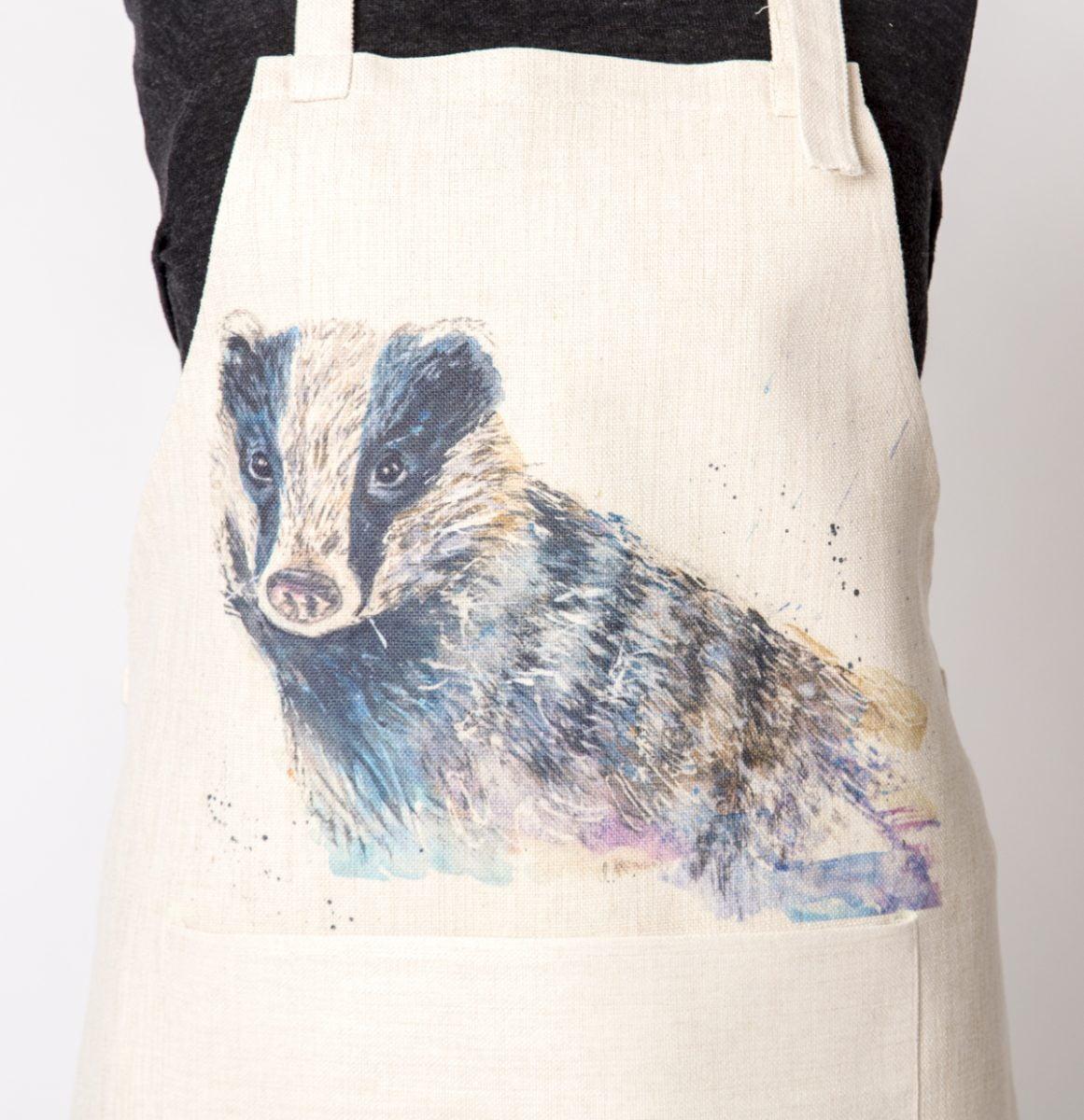 Badger watercolour apron