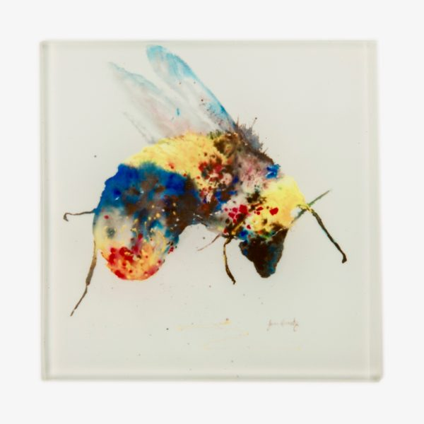 colourful bee on glass coaster