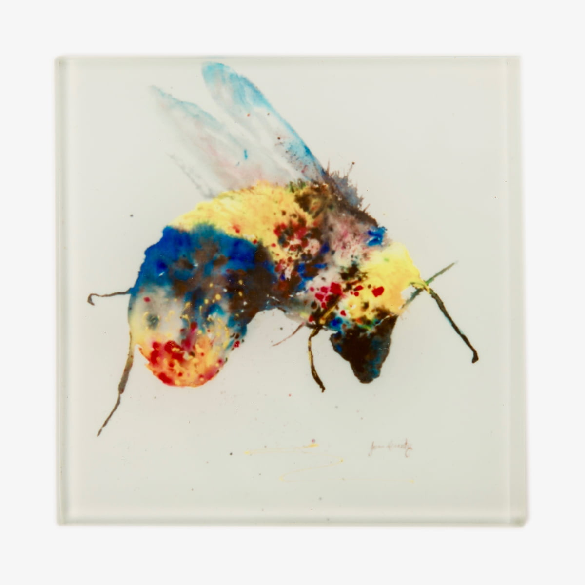 Bee glass coaster