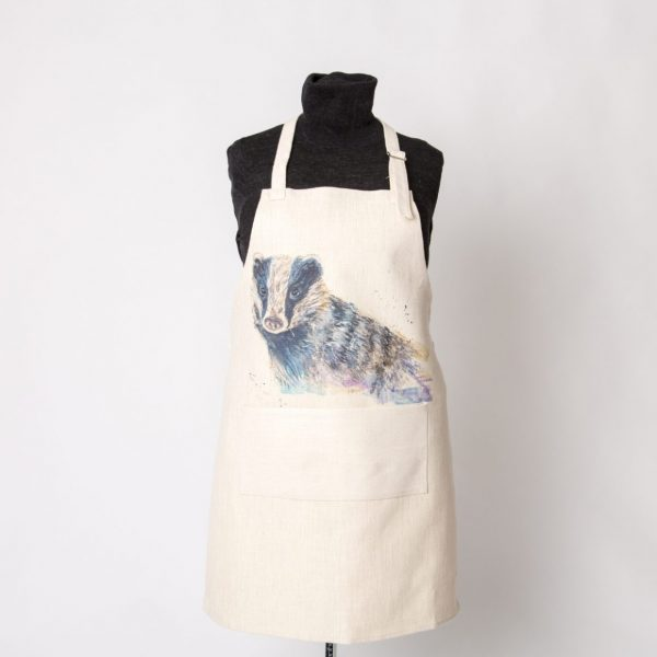 beautiful wild life badger on cream apron
