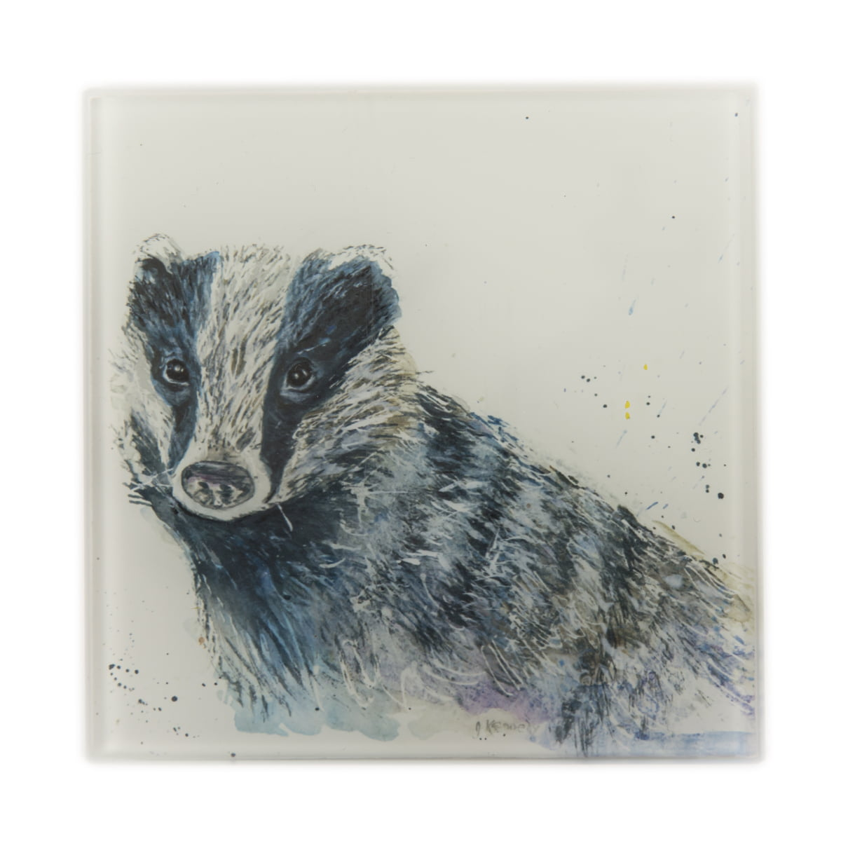 watercolour badger glass coaster