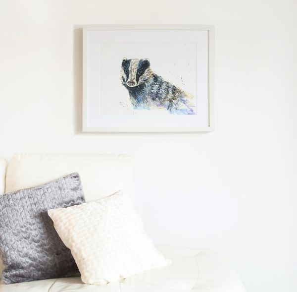 badger watercolour in white background in white frame