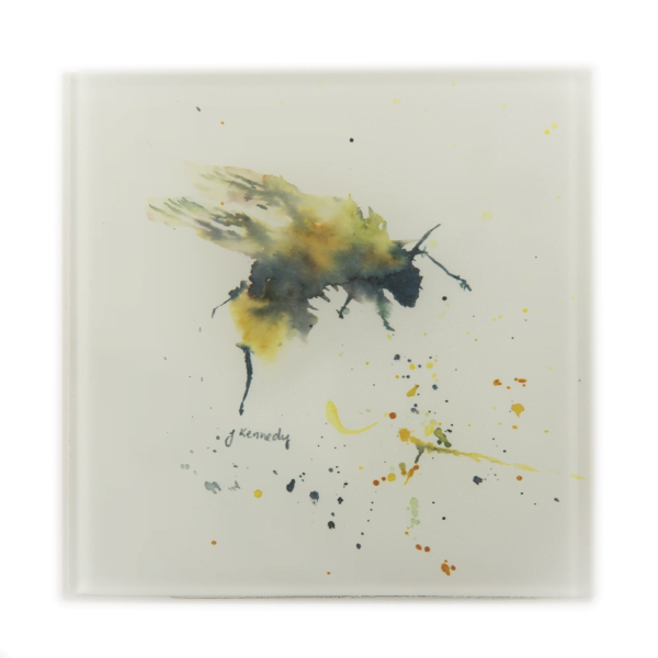 square glass coaster of yellow and black bee