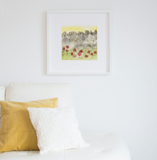 square white framed painting of a watercolour scene of a wall with poppies