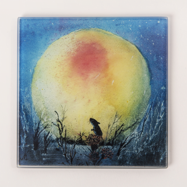 square glass coaster of mouse and moon