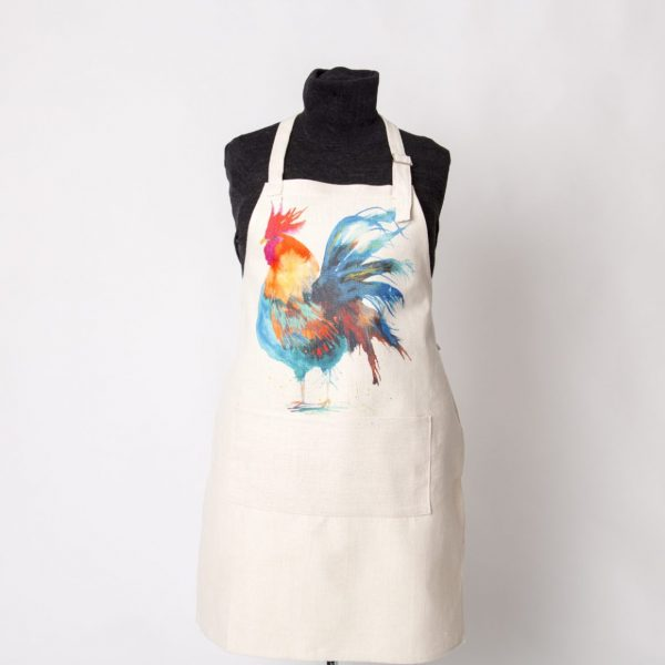 cockerel image on apron with large pocket