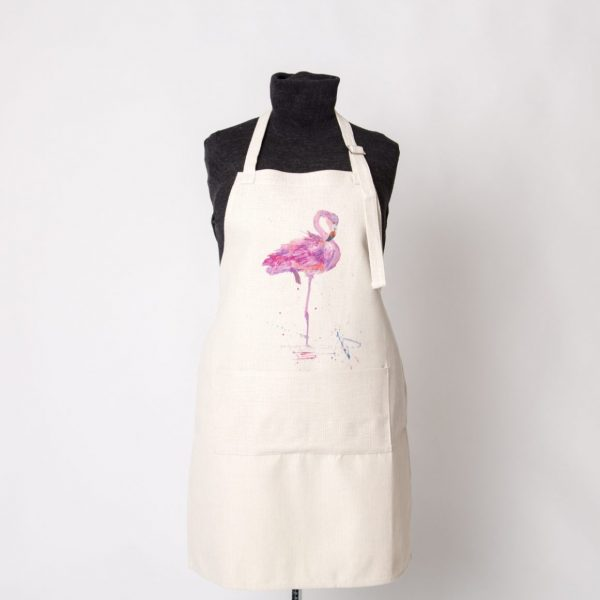 pink flamingo on apron