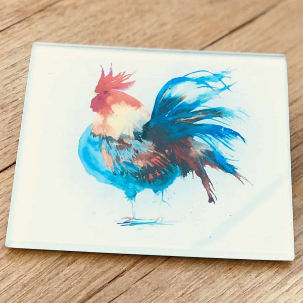 cockerel glass coaster