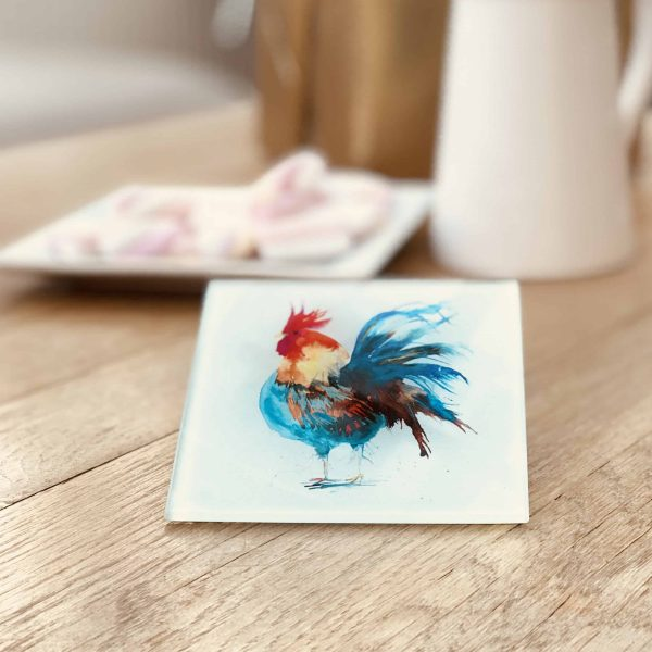 glass coaster with cockerel image