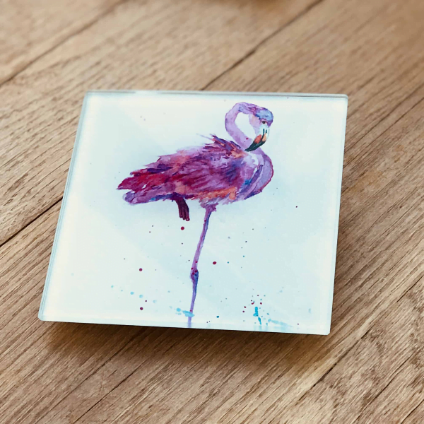 pink flamingo image on square coaster