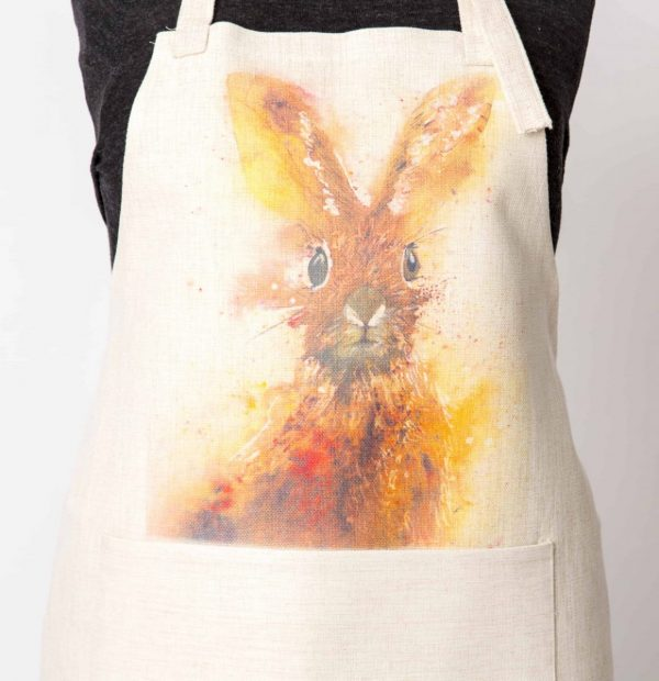 vibrant hare watercolour on apron