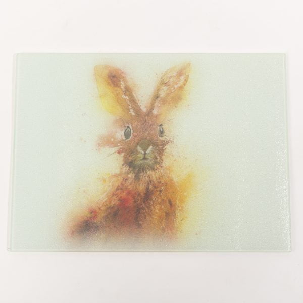 watercolour hare on glass