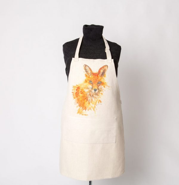 fox image on apron with a pocket