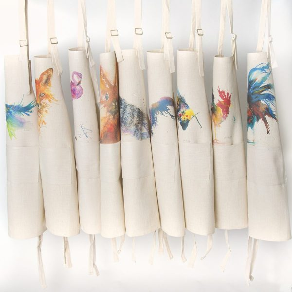various aprons on rack