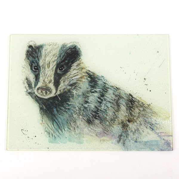 glass worktop watercolour badger