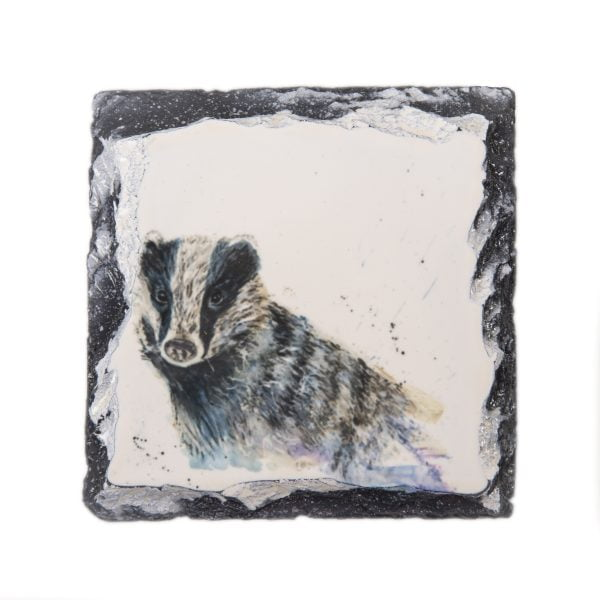 black and white badger watercolour on slate coaster