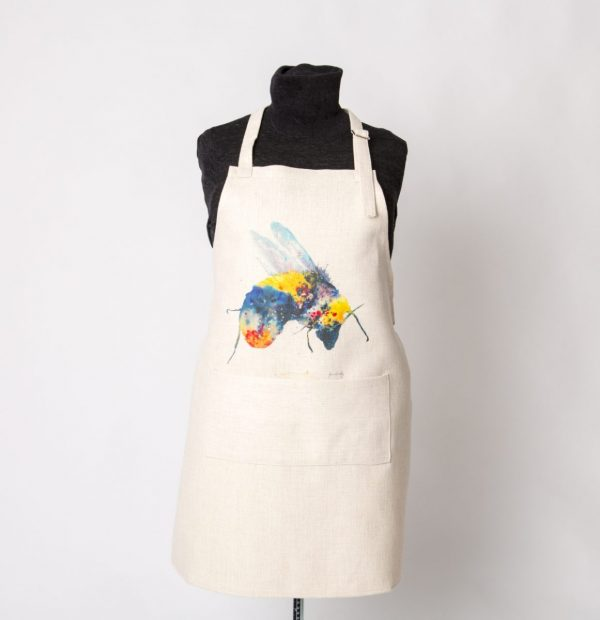 bee watercolour image on apron with large pocket