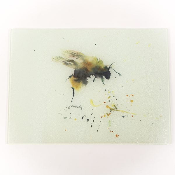 yellow and black bee glass chopping board