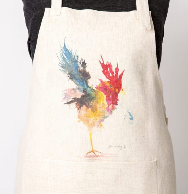 apron with large image of cockerel standing