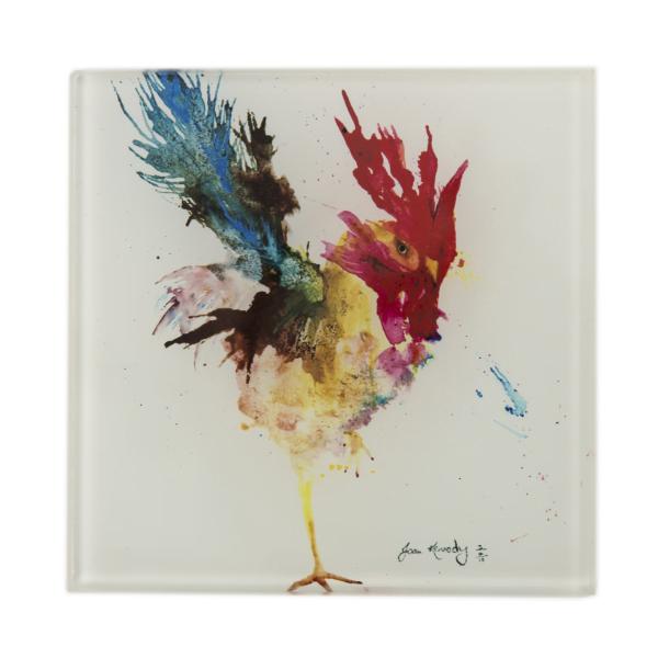 cockerel standing on one leg watercolour