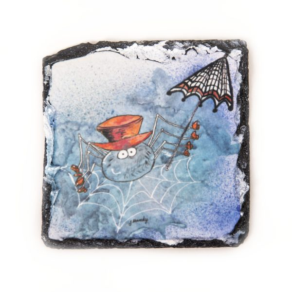 spider with red hat on square slate coaster