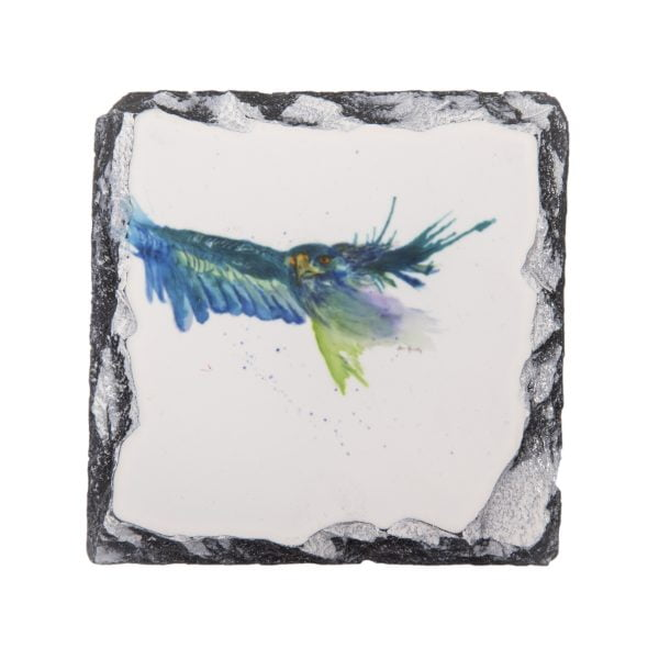 vibrant blue eagle watercolour slate