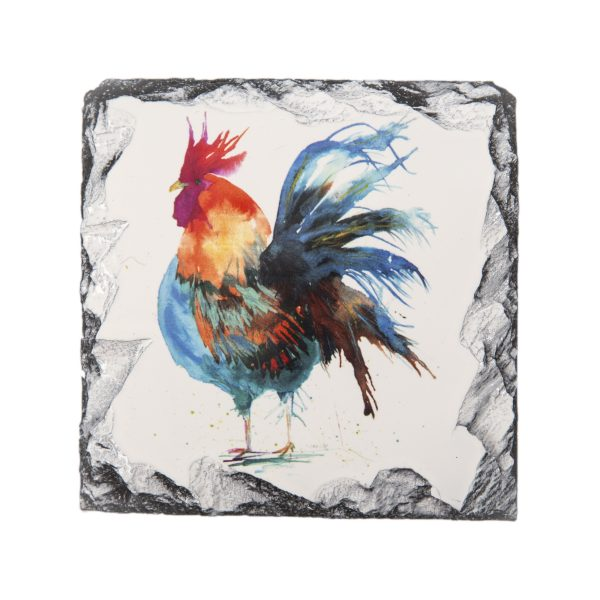 cockerel watercolour on square slate coaster