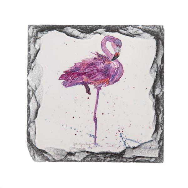 a flamingo purple and pink slate coaster