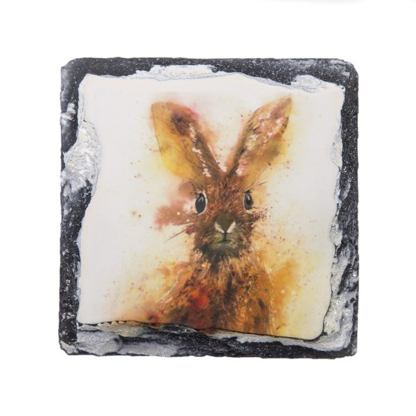 Vibrant hare abstract on slate coaster