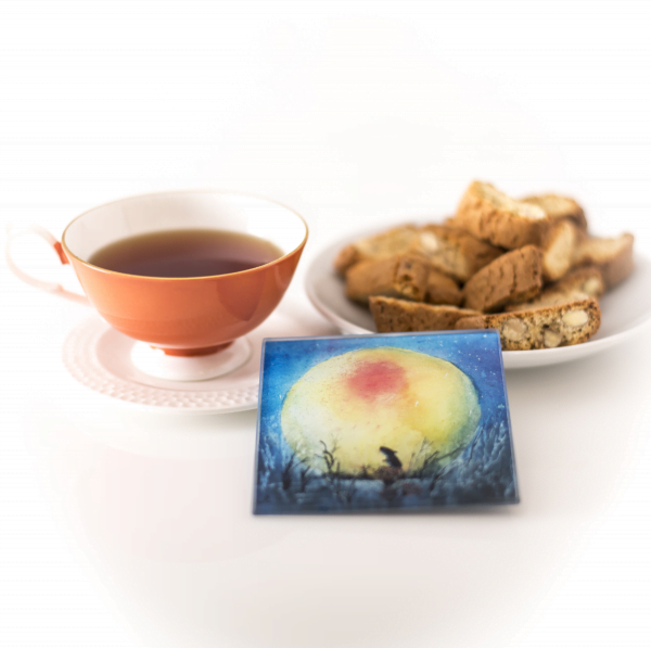 elegant square glass coaster of mouse looking at big yellow moon