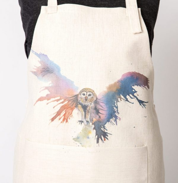 owl watercolour on apron