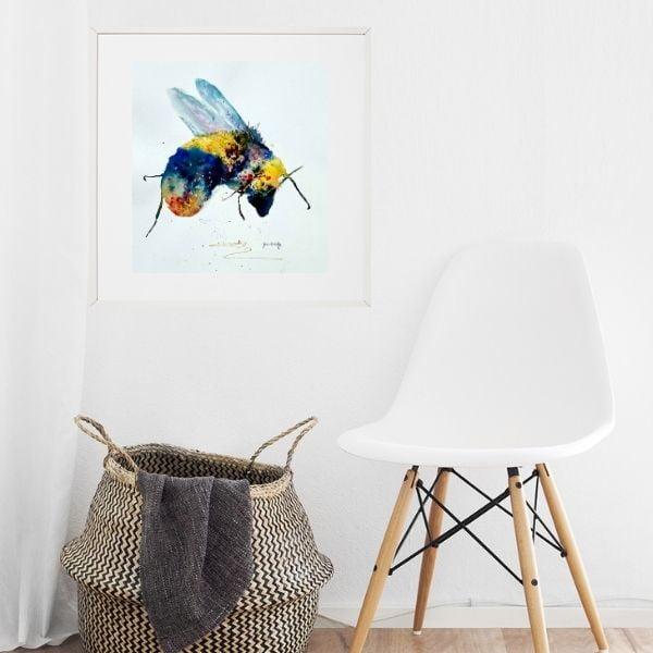 bee print near white chair