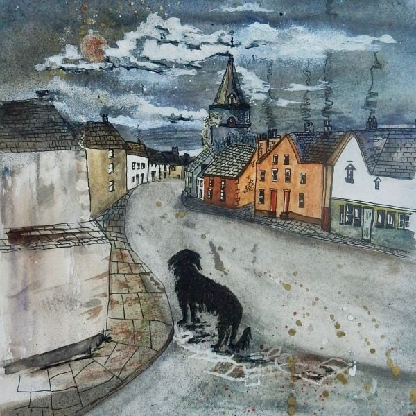 lonely dog watercolour