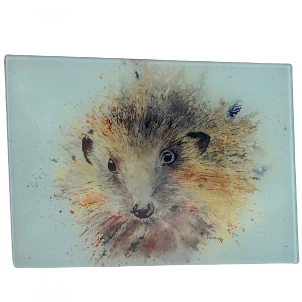 watercolour hedgehog on glass