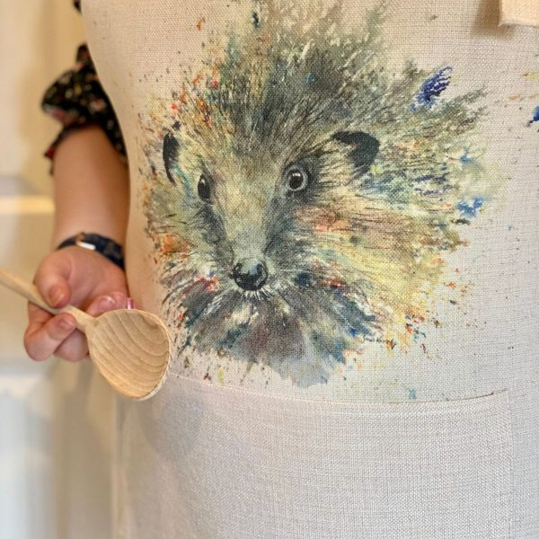 apron with image of hedgehog
