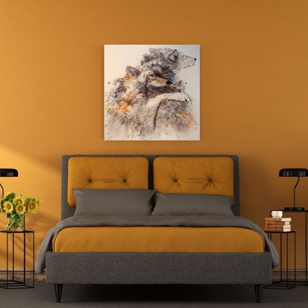 watercolour wolves in bedroom