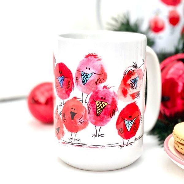red robin christmas mug