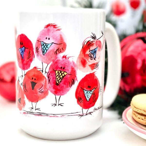 gift for him christmas robin mug