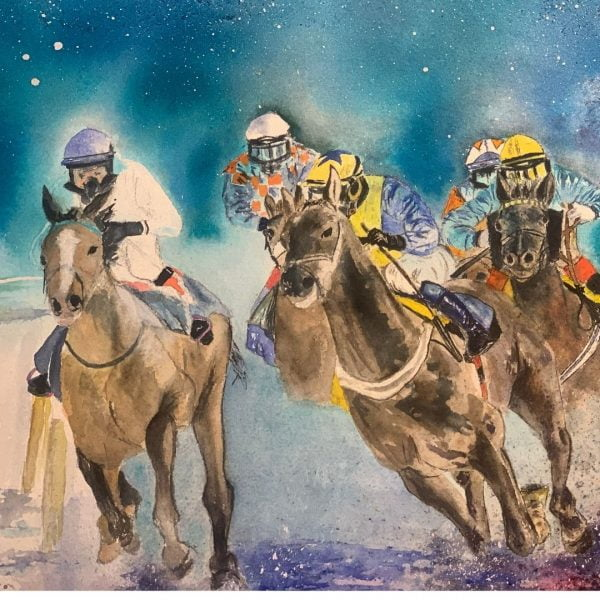 watercolour painting horse racing painting
