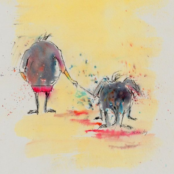 Fun dog walking painting